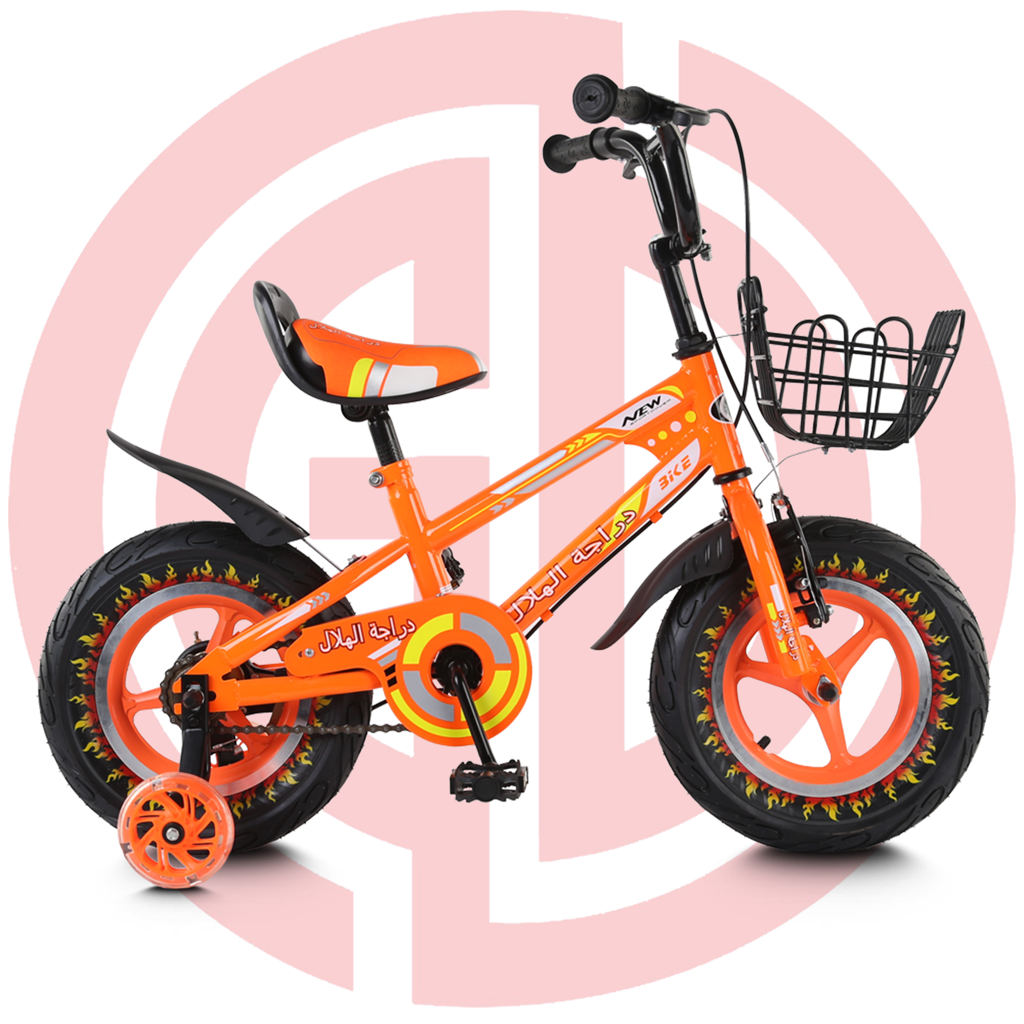 GD-KB-006: Children orange kids bicycle, cool kids bike, metal frame, training wheel Featured Image