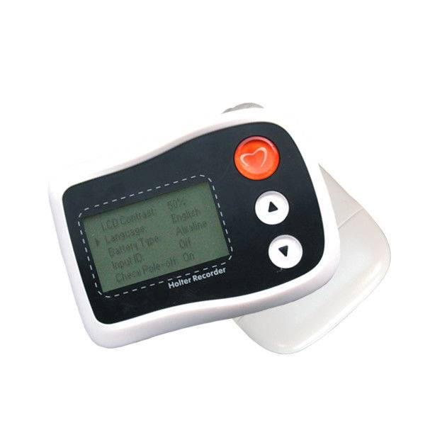 Small Portable Holter ECG Monitor Mini White LCD Recorder Up To 36 Hours Recording Time