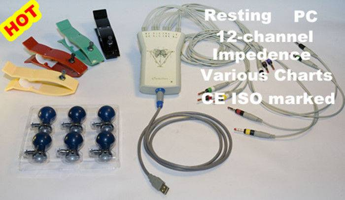 Handheld Home PC Based ECG Machine 12 Lead Resting Vector ECG Warkstation