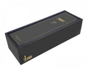 2020 Handmade Single Bottles Wine Gift Black Paper Cardboard Box Luxury Black Wine Boxes with Customized Tray