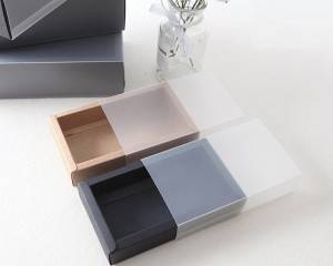 Recycle brown cardboard with PET clear box sleeve matte finish