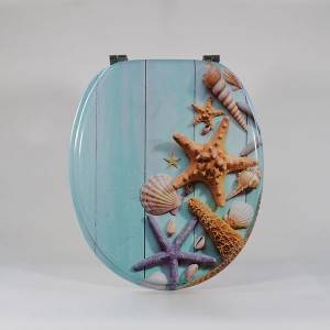 HJR- PV3P027 Wooden and star fish toilet seat cover