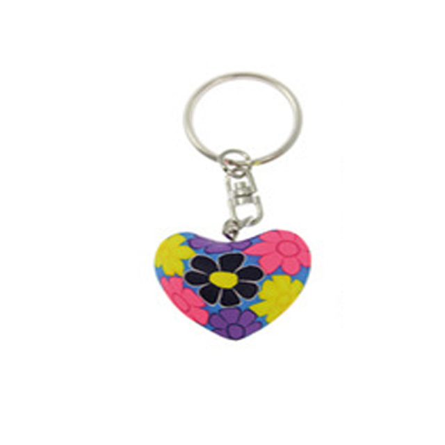 clay gift  heart  keychain color patterns