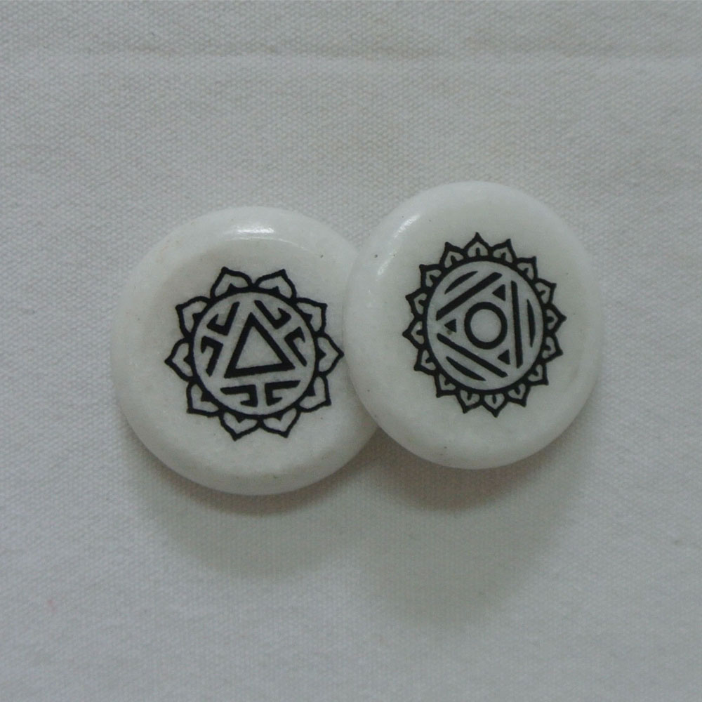 pocket stone natural white marble stone beads with custom printing