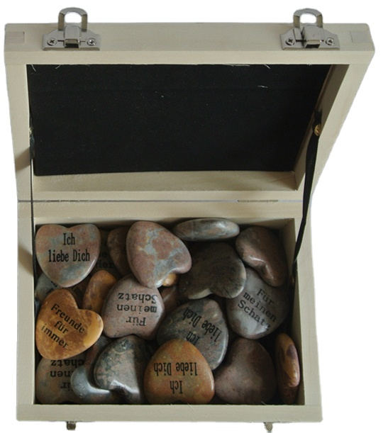 natural marble heart shape stone gift  with printing in wooden display box