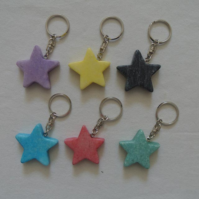 natural marble star keychain stone gift keychain colorful star keychain Featured Image