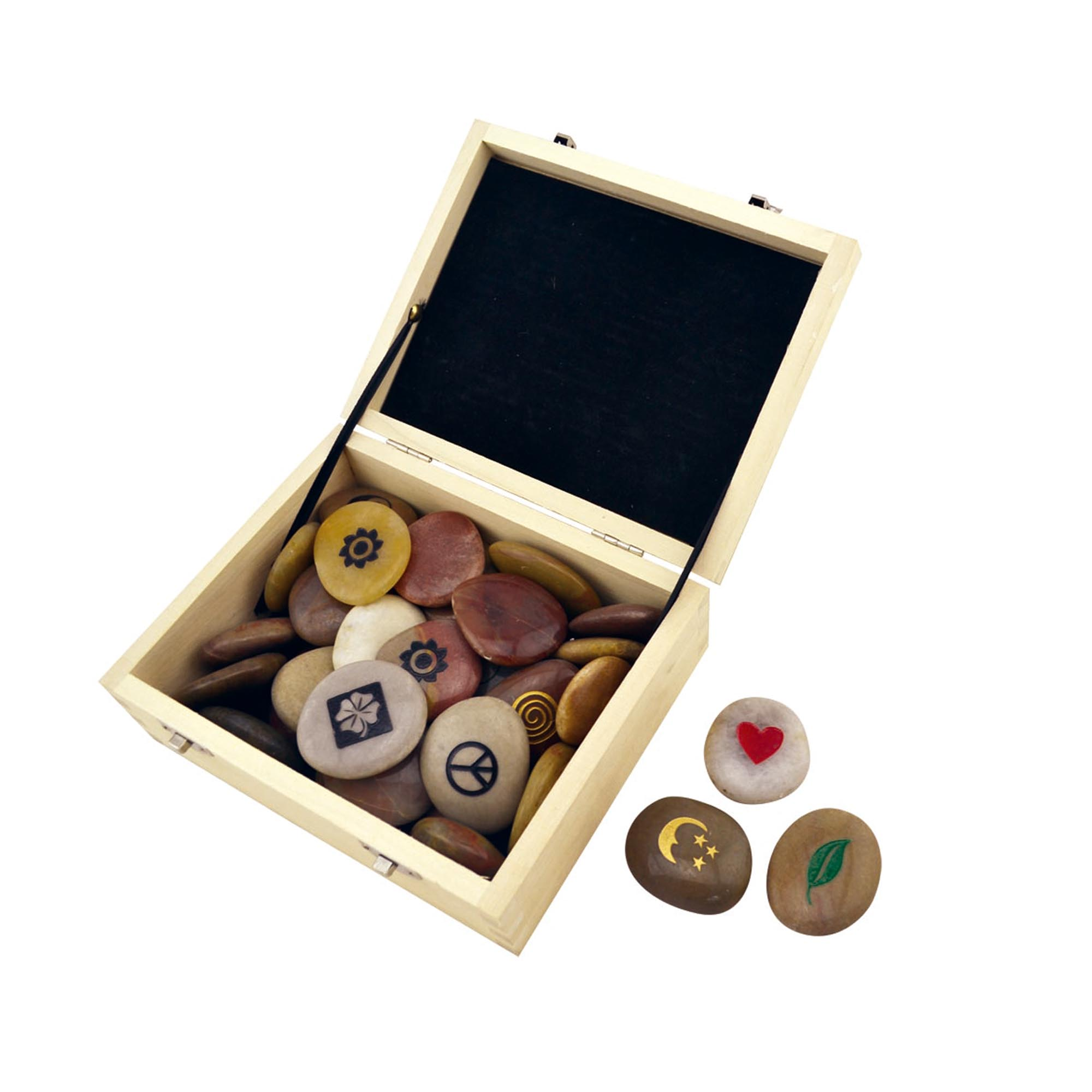 Pebble stone natural pebble with customize engravment in wooden display box