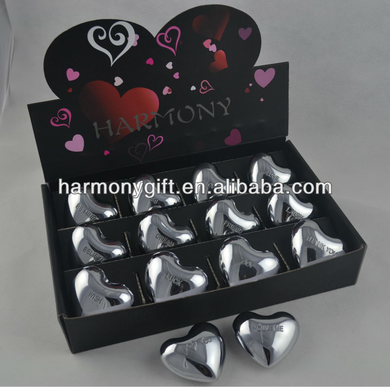 silver sound hearts with engraved words 6.5cm