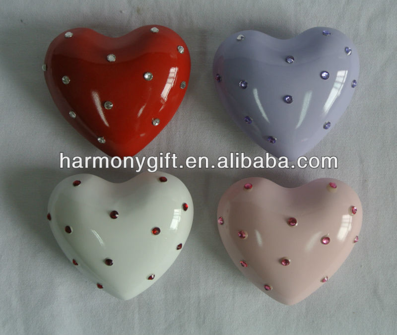 handpainted sound heart with rhinestone