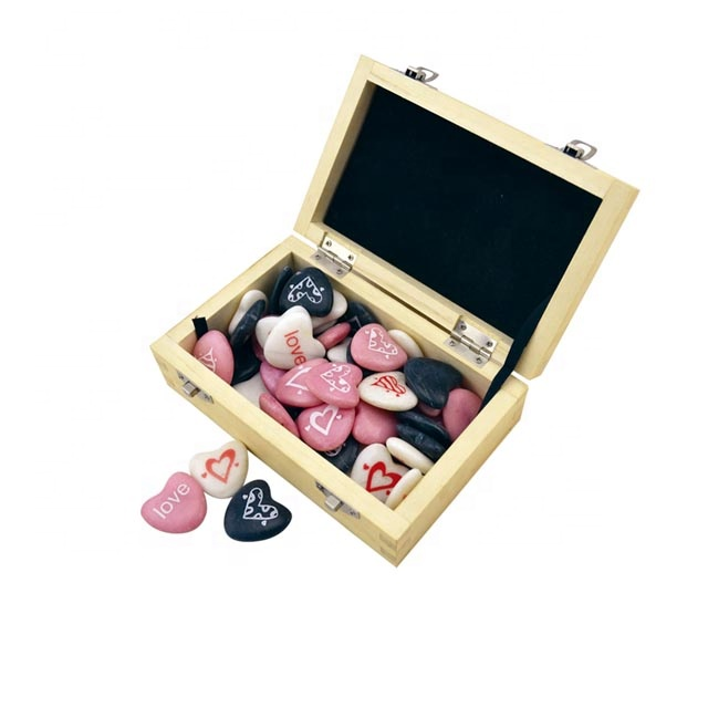 stone heart  gifts   custom engraving designs in wooden display box