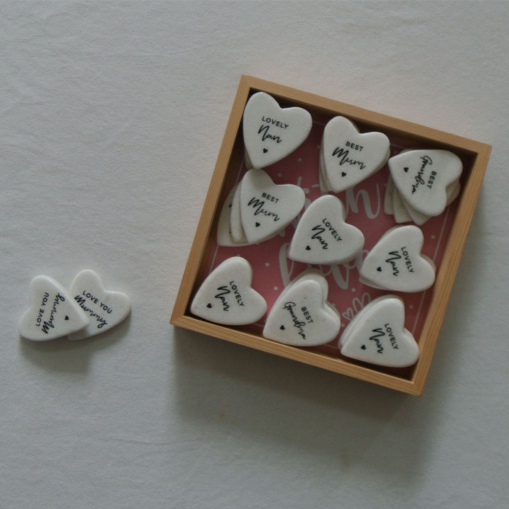 marble heart white heart stone with printing  LOVE HEART TOKEN