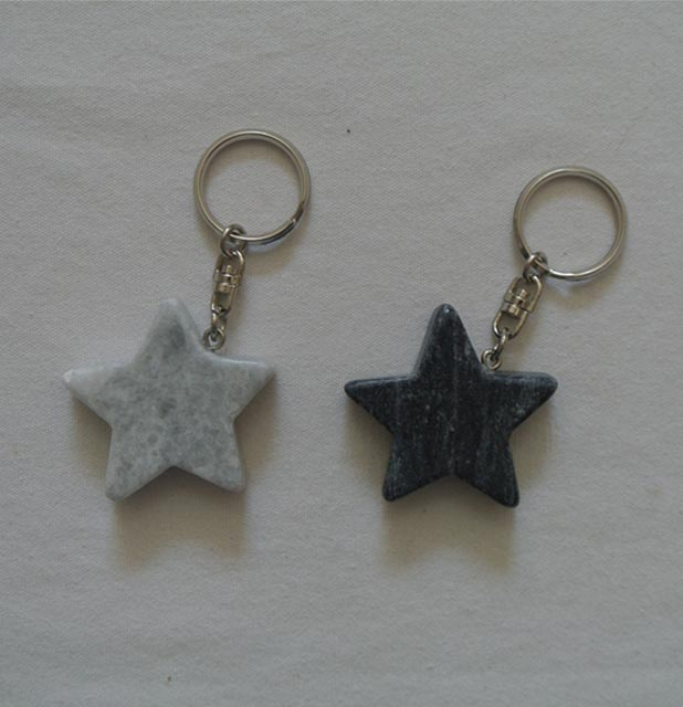 natural marble star keychain stone star  gifts keychain