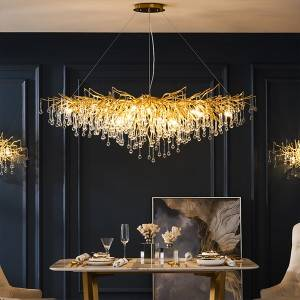 Luxury Bronze Crystal Chandelier Restaurant Pen...