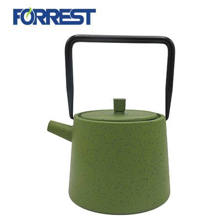 Green Mettle Tea Kettle Stovetop Safe Cast Iron Teapot with Stainless Steel Infuser