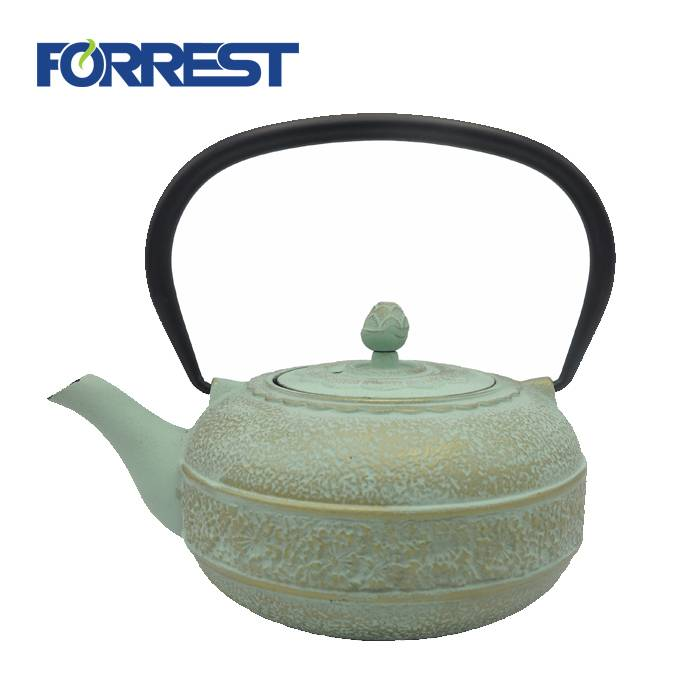 Enamel antique cast iron teapot green cast iron teapot