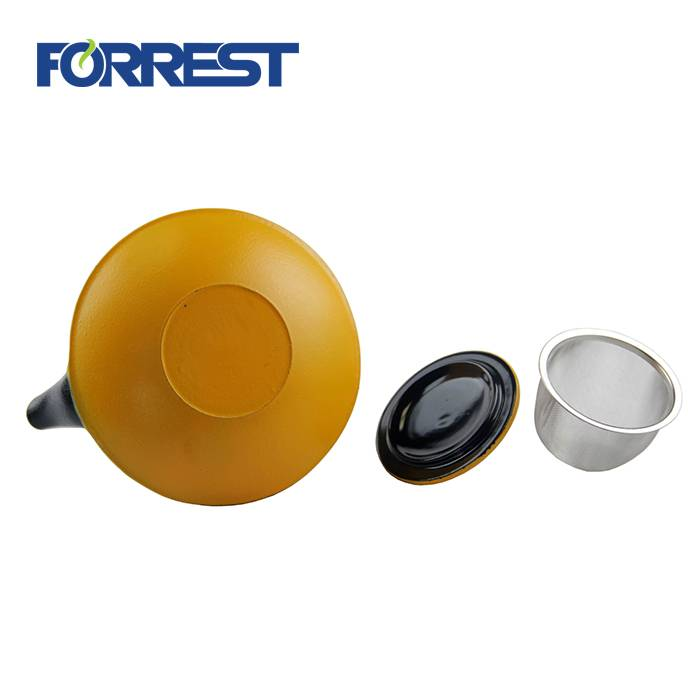0.8L best wholesale Eurofins approved yellow color enamel tetsubin cast iron kettle teapot with S/S Infuser