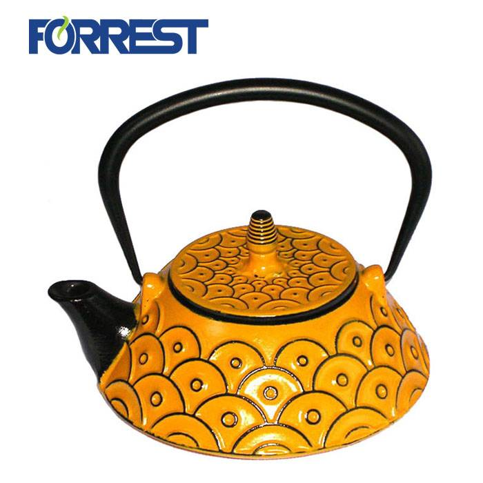 0.8L best wholesale Eurofins approved yellow color enamel tetsubin cast iron kettle teapot with S/S Infuser Featured Image