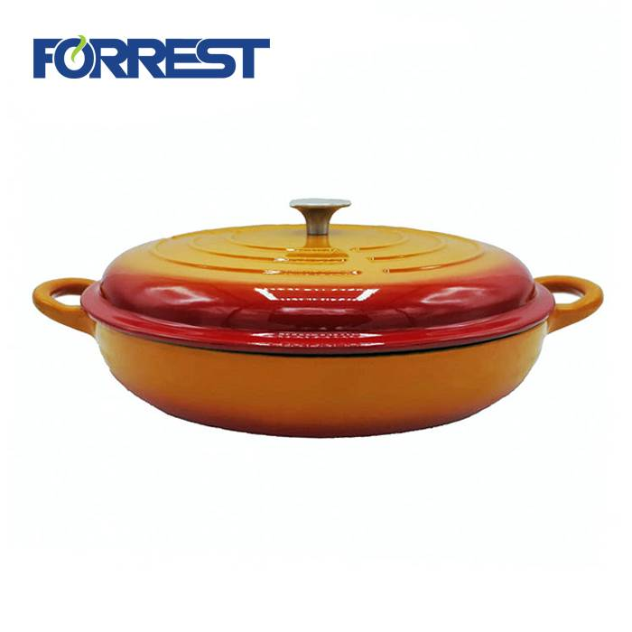 3.35L diameter 31cm  6.3kg cast iron glossy orange color enamel round casserole cookware FDA,Eurofins approved hot sale