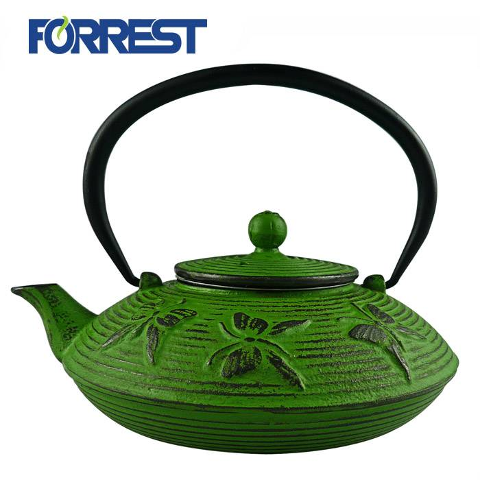 Enameled Cast iron green/black teapot kettle