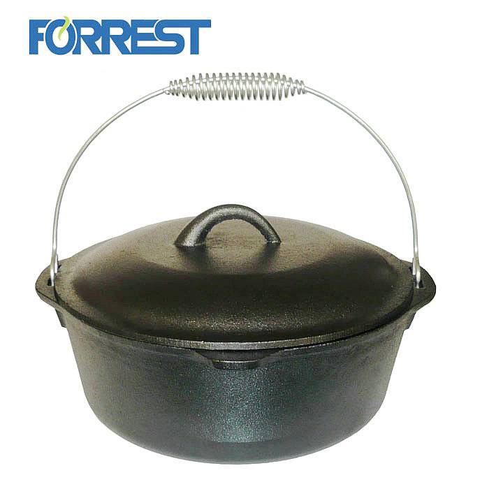 Pre Seasoned Cast Iron Pot and Lid with Wire Bail Cast Iron Dutch Oven for Camp Cooking