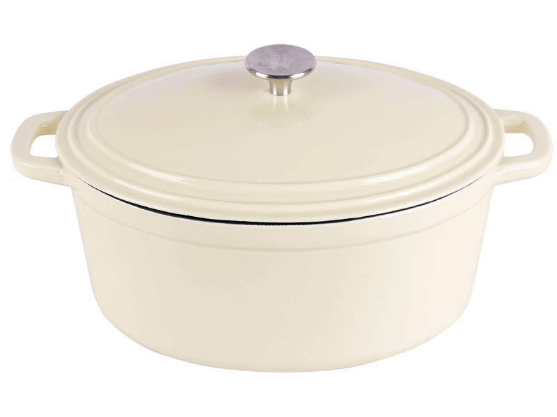 cast iron white enameled oval dutch oven