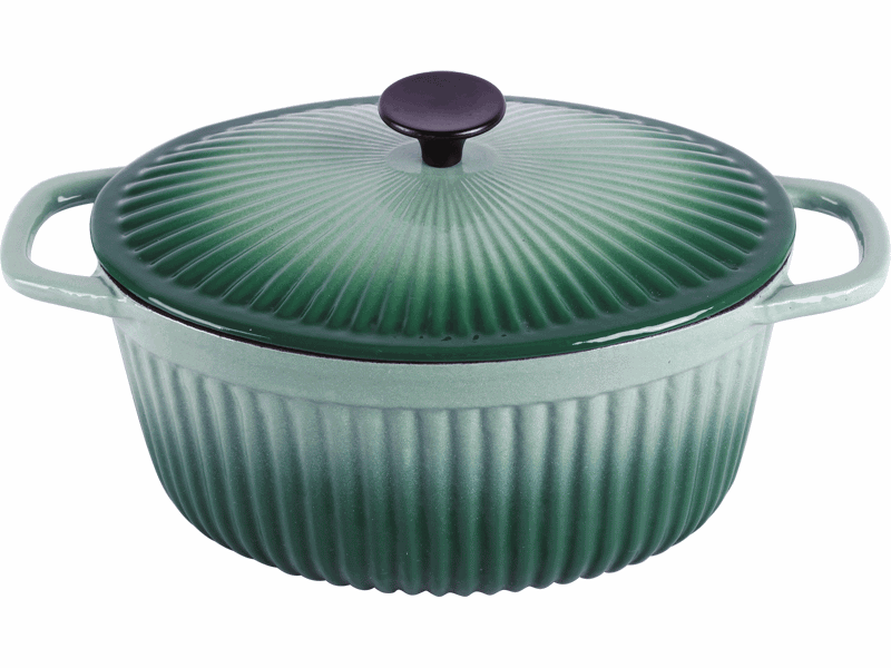 cast iron green enameled oval casseroles