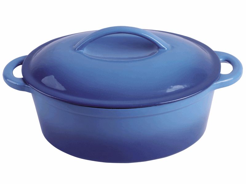 cast iron blue enameled casserole
