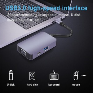 5 IN 1 USB-C Adapter with HDMII,100 W PD,VGA,USB3.0,3.5mm Jack