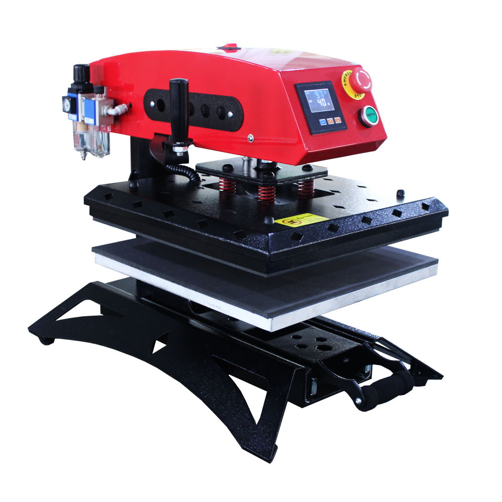 High Pressure Pneumatic Auto Rotary Heat Press with Slide-out Bottom Featured Image