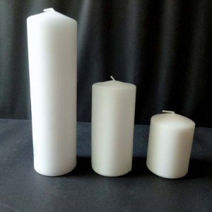Pillar Candle-2 Lighting and Praying Machine Pressed 7cm Unscented White Color Church Pillar Candle