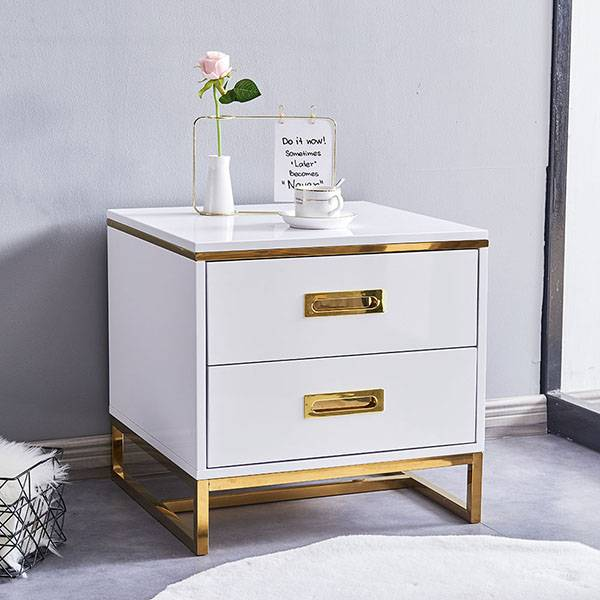 YF-H-204 White Golden Finish Modern Nightstand Side End Table with Drawer Featured Image