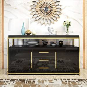 YF-H-802 tempered glass tabletopm modern sideboard for kitchen