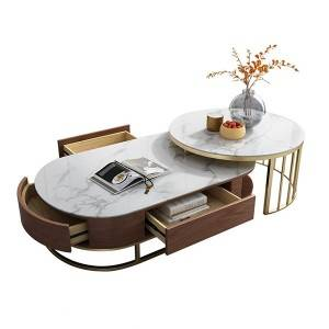 YF-H-906 Smart Round Coffee Table+TV stand with Rotatable Drawers in White & oak