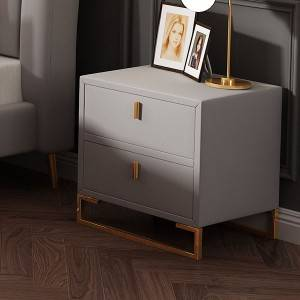 YF-H-211 Pink Velvet Nightstands 2 Drawers Wood Nightstand Bedside Table Gold Base