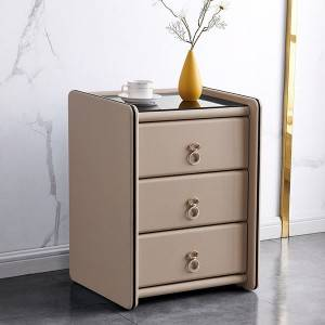 YF-H-213 Silver Furniture Faux Leather Contemporary Nightstand