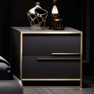 YF-H-203-1 leather Two spacious drawers nightstand