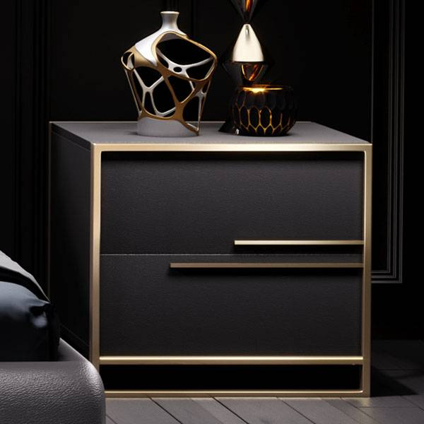 YF-H-203-1 leather Two spacious drawers nightstand Featured Image