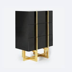 YF-H-209 Modern 3 Drawer White  Black Lacquer Nightstand in Gold