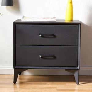 YF-H-212 h Nightstand Upholstered Bedside Table with Drawer Gold Metal Base