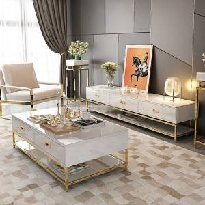 YF-H-904 White Rectangular Storage Coffee Table+TV stand