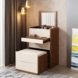 Flip Top Mirror Drawer Jewelry Cabinet White