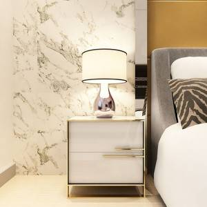 YF-H-203 Side Table for Bed Wood Stainless Steel Gold