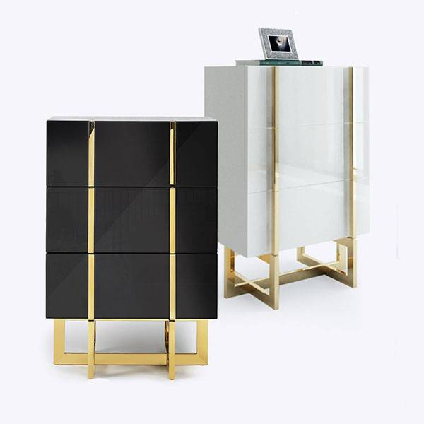YF-H-209 Modern 3 Drawer White  Black Lacquer Nightstand in Gold Featured Image