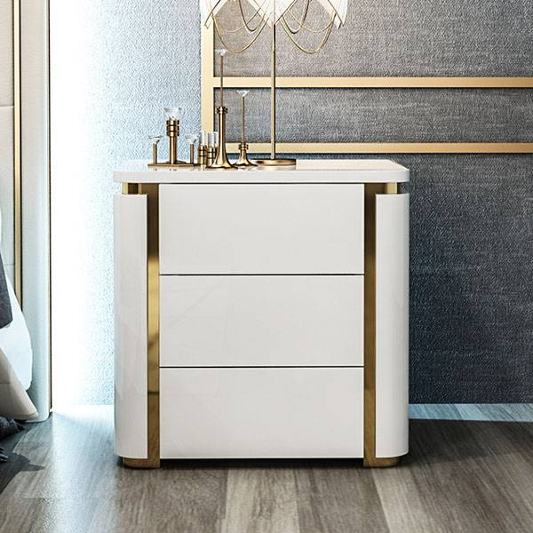 YF-H-210 Modern Luxury White & Gold 3 Drawers Bedroom Nightstand Square Bedside Table Featured Image