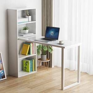 White writing study computer desk for home office with 4 shelves