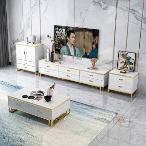 YF-H-204 White Golden Finish Modern Nightstand Side End Table with Drawer