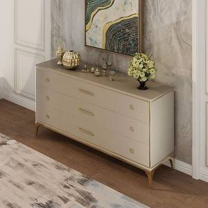 YF-H-804 Gold Leaf Wave Fronted Buffet Sideboard