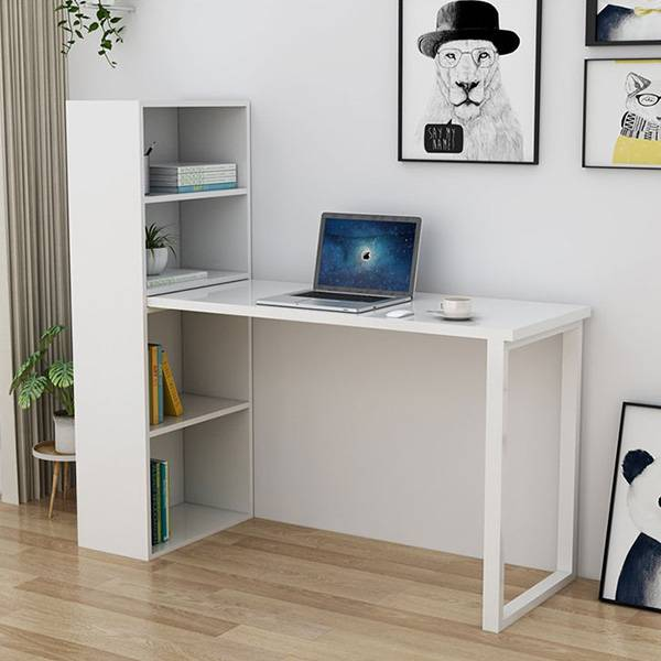 White writing study computer desk for home office with 4 shelves Featured Image