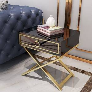 YF-H-206 Side Table with Self Closing Drawer Lacquer X Base Brass Finished Stainless Steel