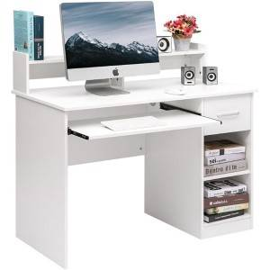 Modern compact computer desk for home office with 1 drawer, 2 open cabinet, 1 lower shelf